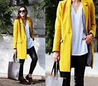 ZARA BLOGGER MUSTARD YELLOW LAPEL COLLAR LONG WOOL BLAZER COAT 1255/258 XS S M L