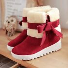 Xmas Sweet Womens Winter Furry Bow Foldable Low Heel  Ankle Boots Shoes  туфли