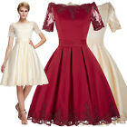 Elegant 50S Vintage Evening Party Wedding Cocktail Masquerade Dress Ball Gown
