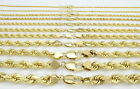 "PURE 10K Yellow Gold REAL 2MM-7MM Rope Chain Pendant Necklace Men Women 16""-32"""