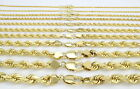 PURE 10K Yellow Gold REAL 2MM-7MM Rope Chain Pendant Necklace Men Women 16