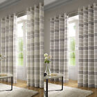 Moda Embroidered Stripe Fully Lined Ready Made Eyelet Ring Top Curtains Pair