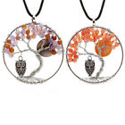 Natural Agate Beads Life Tree Necklace Creative Crystal Owl Pendant Necklace JR