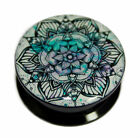 Pink & Turquoise Floral Mandala Acrylic Screw-Fit Ear Plug Flesh Tunnel 6mm-25mm