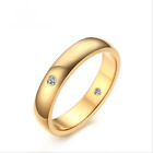 Simple Men's Women's White Sapphire Size 6-10 Stainless Steel Fashion Rings Halo