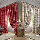 """Summer Check Fully Lined Ready Made 3"""" Tape Top Pencil Pleat Curtains Pair"""