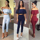 Fashion Women Bondycon Pants Jumpsuit Sexy Off-Shoulder Falbala Frill Crop Top