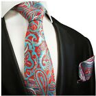 Red and Turquoise Hand Made Paisley Silk Tie and Pocket Square by Paul Malone