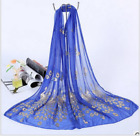 Womens Long Scarf Glitter Gilded Peacock Printing Wrap Voile Wraps Stole Shawl