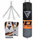 RDX Punching Bag Heavy Duty Chains Mount Training Sparring Boxing Gloves MMA US
