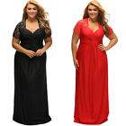 Plus Size Womens Lace Short Sleeve Dress Evening Gown Wedding Cocktail 3Col