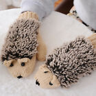 Unisex Woman 2017 Cute 3D Winter Gloves Knit Warm Soft Fluffy Hedgehog Mittens