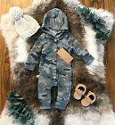 Newborn Baby Boy Girl Long Camo Romper Bodysuit Jumpsuit Playsuit Clothes Outfit