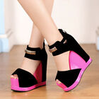 Fashion Women Wedge Platform Shoes Wedding Party Dress Buckle High Heels Sandals