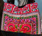 Large Floral Embroidery Tote Handbags,Colourful Bright Tribal Boho Shoulder Bags