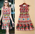 Occident Fashion Star Favorite Embroidery Modern Vintage Printed Cocktail Dress