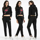 Casual Women Girl Rose Embroidery Crop Tops Hoodie&Pants Sport Full Tracksuits