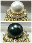 Noblest 10mm South Sea shell pearl Gemstone Jewelry 14K GP Ring Size:8