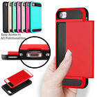2-Credit Card Holder Case iPhone 6S 7 8 Plus X With Slide Card Slot Back Cover
