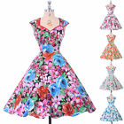 Floral Vintage Swing 50s 60s pinup Ball Housewife Picnic Tea Womens Dress Sale
