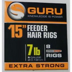 "Guru 15"" Feeder Hair Rigs - All Sizes Available - 8 Rigs Per Pack"
