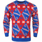 New York Rangers Blue Candy Cane Ugly Sweater - NHL
