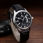 Luxury Mens Watch Stainless Steel Faux Leather Analog Quartz Date Military Watch