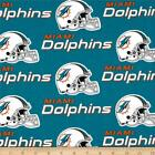 """100% Cotton Fabric Pre-Cut Miami Dolphins Fabric 58"""" Wide NFL Licensed Sold BTY"""