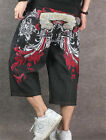 Men's Loose Hip-hop Fashion Pants Embroidery Skateboard Jeans Size 30-44