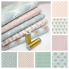 ELEMENTS MODERN PASTEL100% COTTON FABRIC AQUAMARINE POWDER PINK & METALLIC