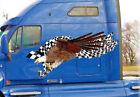 Semi truck decals checkered flag eagle large vinyl graphic stickers 4ft and up