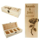 Personalised Wood Tea Box With 4 Compartments Engraved Xmas Keepsake Trinket