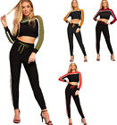 Womens Striped Long Sleeve Jogging Bottoms Cropped Top Ladies Loungewear Set