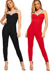 Womens Diamante Strappy Sleeveless Caged Skinny Leg Trousers New Ladies Jumpsuit