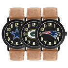 Game Time NFL Football Team Throwback Dark Brown Leather Mens Watch MTO