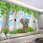 3D Elephant Lawn 45 Wallpaper Murals Wall Print Wallpaper Mural AJ WALL AU Lemon