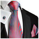 Red and Turquoise Striped Silk Tie, Pocket Square and Cufflinks by Paul Malone