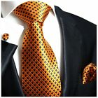 Orange and Navy Silk Tie, Pocket Square and Cufflinks by Paul Malone