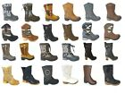 WOMEN LADIES COWBOY ANKLE BOOTS RIDING BIKER CUBAN CHELSEA MID CALF BOOTS SIZES