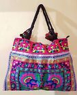 Large Floral Embroidery Tote Handbags, Colourful Bright Shoulder Bags, Festival