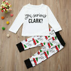 Toddler Kids Baby Boy Girl T shirt Top + Long Pants Christmas Set Outfit Clothes