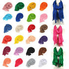 New Candy Colorful Women Soft Wrinkle Long Cotton Crinkle Neck Scarf Wraps Shawl