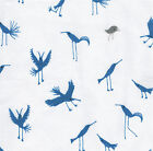 BABY GONE WILD - BIRDS - BLUE ON WHITE - 100% COTTON FABRIC CLOTHWORKS