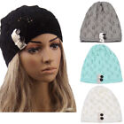 US Womens Ladies Winter Warm Knitting Baggy Beanies Leaves Hollow Out Hats Caps