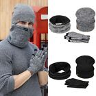 Unisex Mens Winter Warm Soft Suede Beanie Scarf Screen Touch Gloves 3Pcs Set