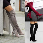 New Womens Ladies Over Knee High Heel Boots Winter Slip-on Leisure Lace-up Shoes