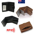 Large Capacity Genuine Leather Mens Trifold Wallet RFID Blocking Anti Scan Zip