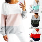 New Womens Sexy V Back Patchwork Stripe Casual Hoodie Blouse Loose Pullover Tops