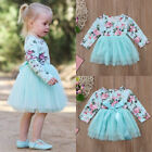 Toddler Baby Girl Floral Tulle Party Pageant Bridesmaid Formal Dress Clothes UK