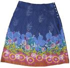 NEW EX WHITE STUFF BLUE FLORAL BIRD RIVERSIBLE SKIRT UK SIZE 8 10 12 14 16